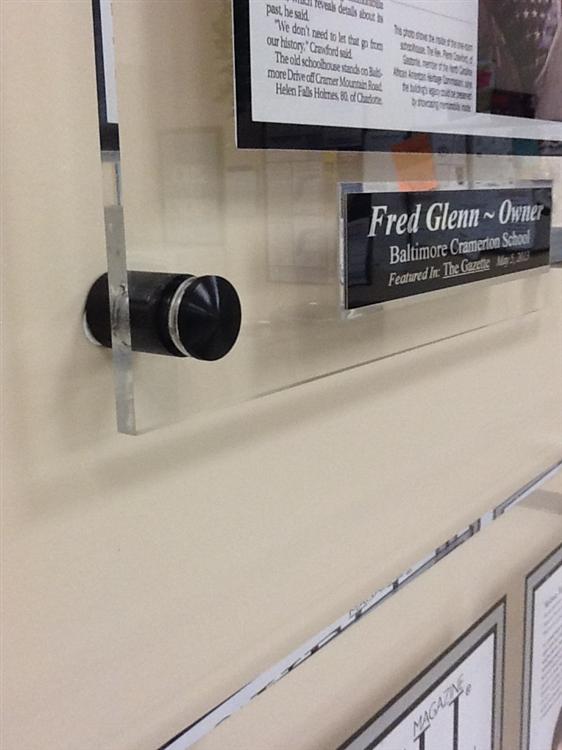 Acrylic plaques w/ black mounting hardware