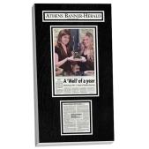newspaper dispay frame, newspaper frame, framed newspaper