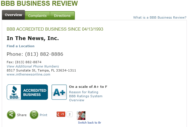 In The News Inc BBB reivew, plaque company