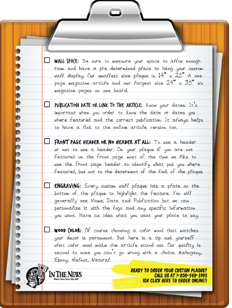 Article mounting newspapers and magazines for display checklist.