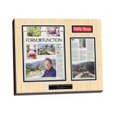 newspaper plaque, plaque of a newspaper article