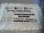 custom wall plaque, WSJ article turned into a cake,