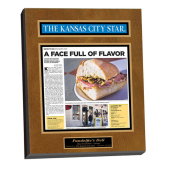 newspaper article laminate plaque
