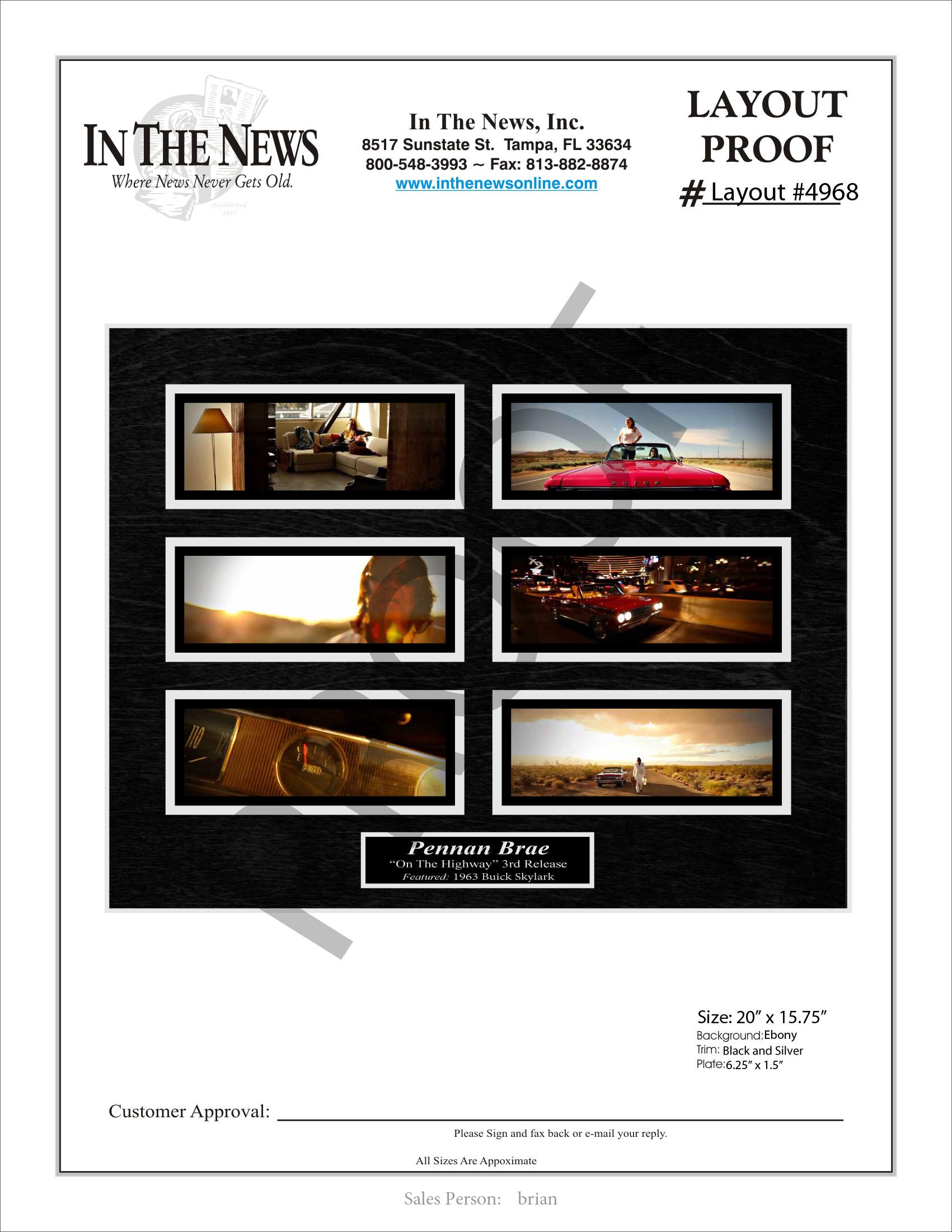 You Tube video screenshot display plaque, magazine frames, newspaper frames