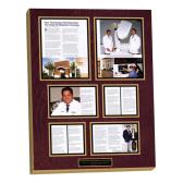 mounted,laminated magazine article wall display