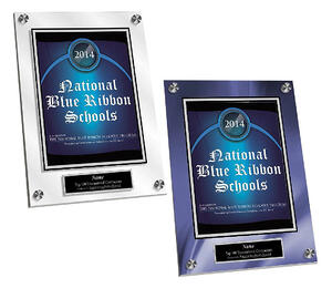 Here, you can see a clear crystaline acrylic plaque next to a plaque with the same article but using a blue silk background.
