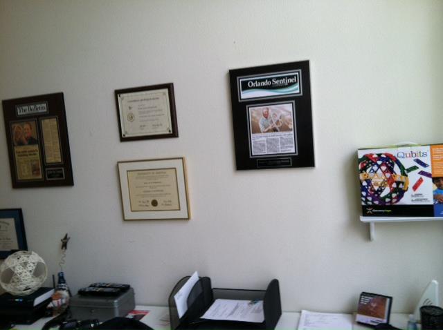 qubits contruction toy, orlando sentinel, magazine article mounted, newspaper frames