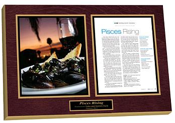 custom laminated plaques, restaurant plaques, restaurant article plaques, review plaques