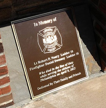 The names of two of Philadelphia's bravest will be forever engraved on this memorial plaque that was commissioned by the city of Philadelphia.