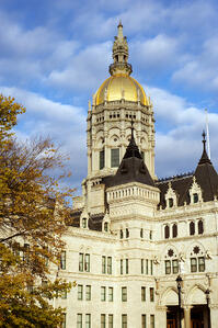 A photo of a building in Connecticut's capitol.